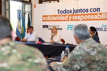 Magario participó junto a Espinoza de una reunión con autoridades del Ejército y funcionarios